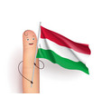 hungary flag hold by finger vector image vector image
