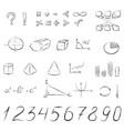 mathematical signs and symbols hand drawn vector image