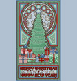 merry christmas card in art nouveau style vector image vector image