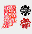 mosaic indiana state map gear items and grunge vector image vector image