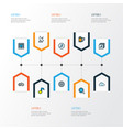 multimedia icons colored line set with vector image