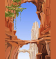 painted landscape of rocky mountains with arches vector image
