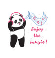 panda with headphones listening to music vector image