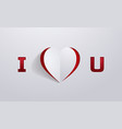 paper art i love you background cutout style vector image