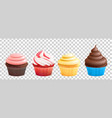 realistic cupcakes with cream muffins vector image vector image