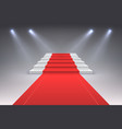 realistic red carpet vip spotlight event stairs vector image vector image