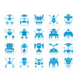 robot blue silhouette icons set vector image