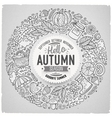 set of autumn cartoon doodle objects symbols vector image vector image