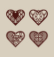 set stencil lacy hearts with openwork pattern vector image vector image