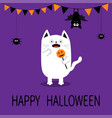 spooky frightened cat holding pumpkin face on vector image