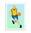 stamp with image of basketball vector image vector image