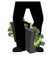 suitcase of money and legs to hide bribe case cash vector image vector image