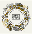 summer black and gold hand drawn round thin line vector image vector image