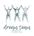team people hold hands spirit togetherness vector image vector image