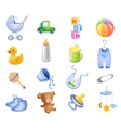 Toys and accessories for baby boy vector image vector image