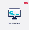 two color analytics monitor icon from business vector image vector image