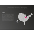 USA map infographics template with highlighted vector image vector image