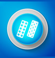 white pills or capsules in blister package icon vector image