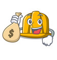 with money bag construction helmet character vector image vector image