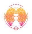 zodiac sign portrait a woman aries vector image vector image