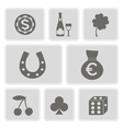 icons with symbols of gambling vector image
