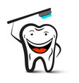 tooth holding toothbrush cartoon cleaning teeth vector image