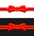 Gift ribbon with red bow Horizontal ribbon vector image