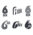 Set of black and white number six logo templates vector image