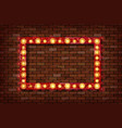 3d render marquee light rectangle board sign vector image vector image
