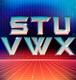 80s Retro Futuristic Font from S to X vector image vector image