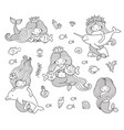 big set of mermaids with different animals vector image