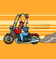 biker on chopper motorcycle transport vector image