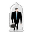 business protection businessman in condom barrier vector image vector image