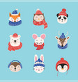 cartoon cute animals with christmas hats and vector image