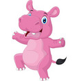 cartoon happy hippo dancing on white background vector image vector image
