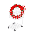 Christmas Wreath of Red Poinsettia in Shopping Car vector image vector image