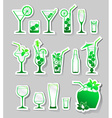 Cocktails and glasses with alcohol on stickers vector image vector image
