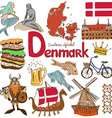 Collection of Denmark icons vector image