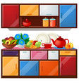 colored kitchen cupboard dishes and fresh fruit vector image