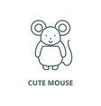 cute mouse line icon cute mouse outline vector image vector image