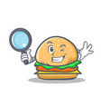 detective burger character fast food vector image vector image