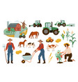 farm set farmers working vector image