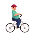 Fat boy cycling riding a bicycle wearing helmet vector image vector image