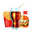 fry french with burger and soda flat design vector image vector image