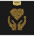 Gold glitter icon of heart in hand isolated vector image vector image