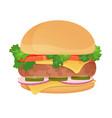 hamburger classic burger american food vector image
