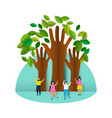 happy eco friendly people group with paper trees vector image