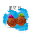 happy holi color powder decorated poster vector image vector image