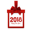 happy new year 2018 square banner in form of gift vector image vector image