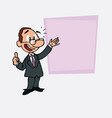 happy white businessman with glasses makes the vector image vector image
